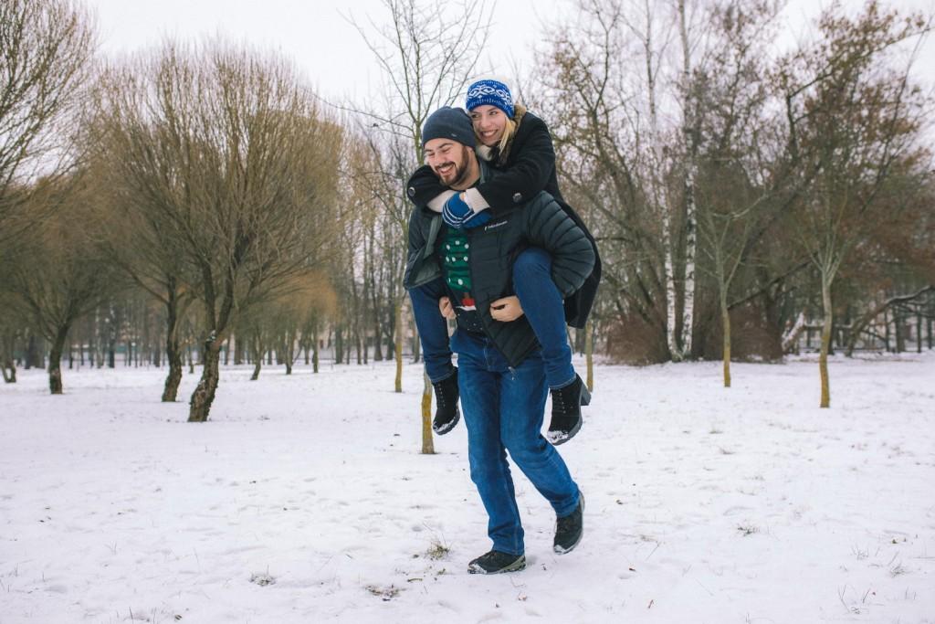 фотосессия пар зимой
