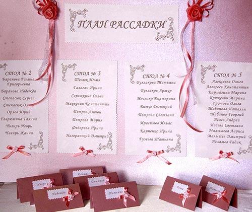 Карточки рассадки гостей на свадьбе своими руками
