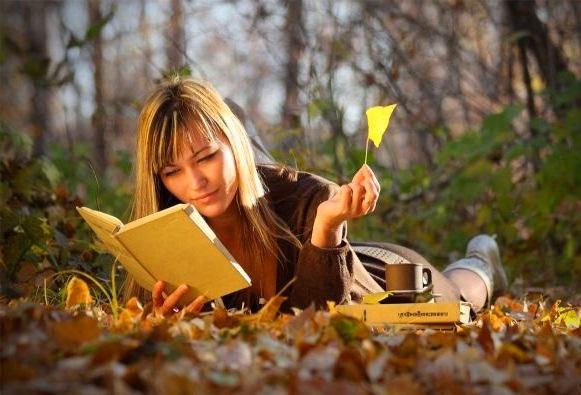 Осенняя фотосессия с книгой