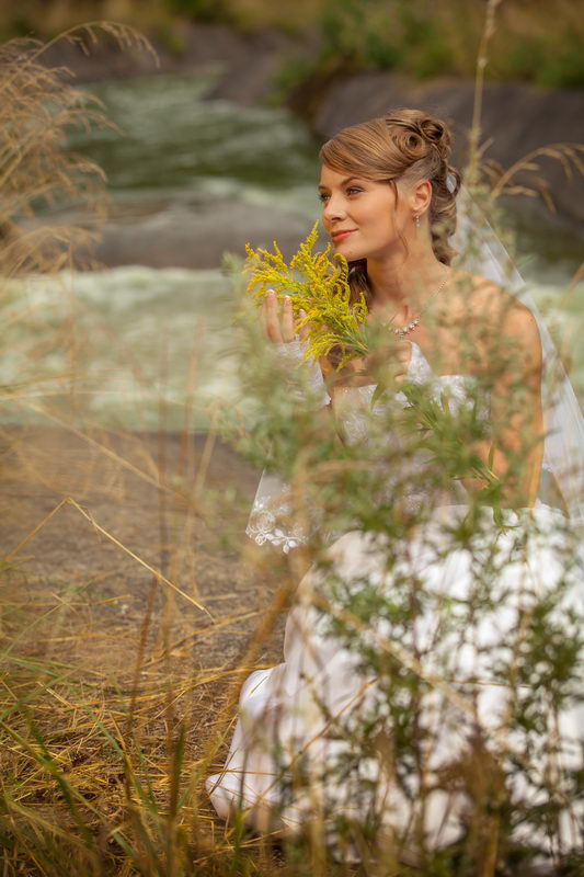 Осенняя фотосессия с осенними цветами